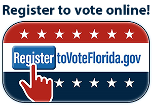 Register to vote online button - takes user to registertovoteflorida.gov